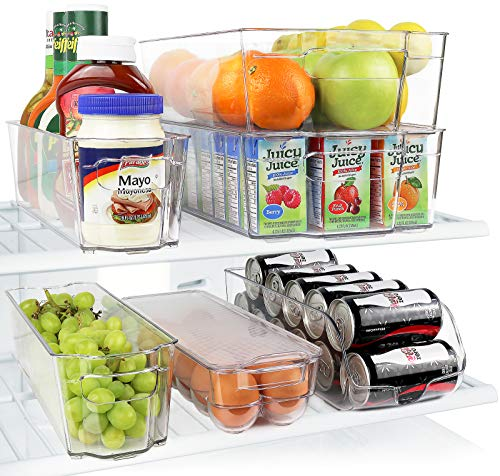 Greenco Fridge Bins, Stackable Storage Organizer Containers with Handles for Refrigerator, Freezer, Pantry and Kitchen Cabinets, BPA, Standard, Clear