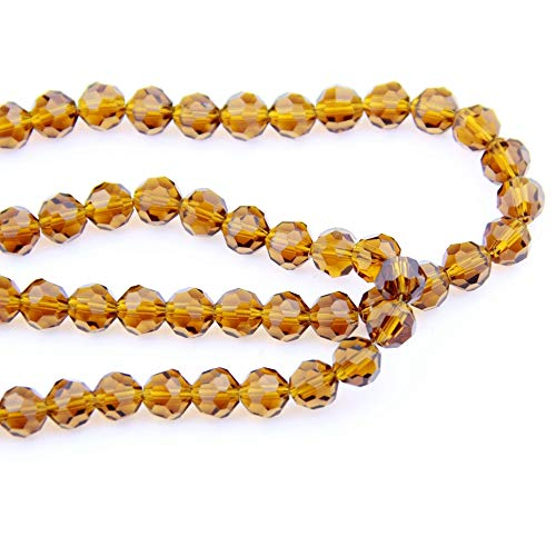 Dalab Fashion 100-1000pcs Amber 12mm Hot Sale 32 Faceted Ball Beads Crystal Glass Fancy Jewelry Necklace Craft Curtain DIY - (Color: 12mm 1000cps)