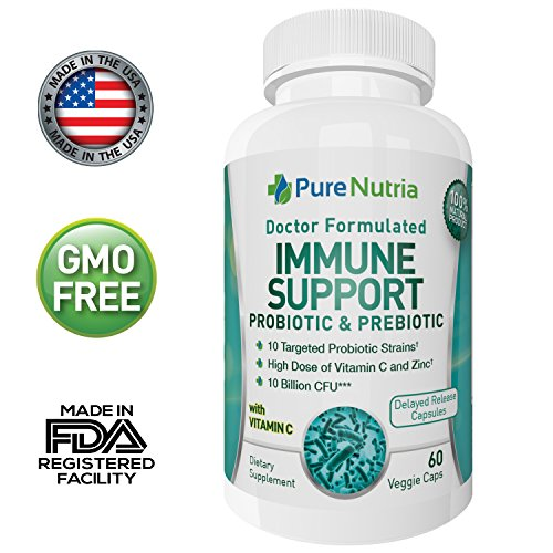 Deep Immune Support (Doctor Formulated Probiotic: Perfectly balanced 10 Billion CFU 10 Strain Probiotic & Prebiotic for Immune Support with Stomach Acid Resistant Formula, 60 Delayed Release Vegan Capsules)
