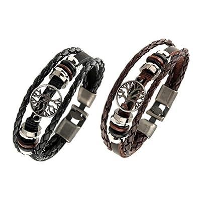 HZMAN Mix 6 Wrap Bracelets Men Women, Hemp Cords Wood Beads Ethnic Tribal Bracelets Leather Wristbands by HZMAN