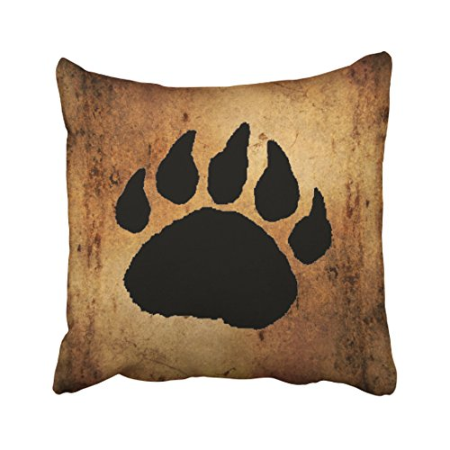 Accrocn Throw Pillow Covers Vintage Lovely Black Bear Paw Print Pillow Decorative Cushion Decorative Pillowcases Polyester 18 x 18 Inch Square Pillowcase Hidden Zipper (Wild Animal Paw Prints)