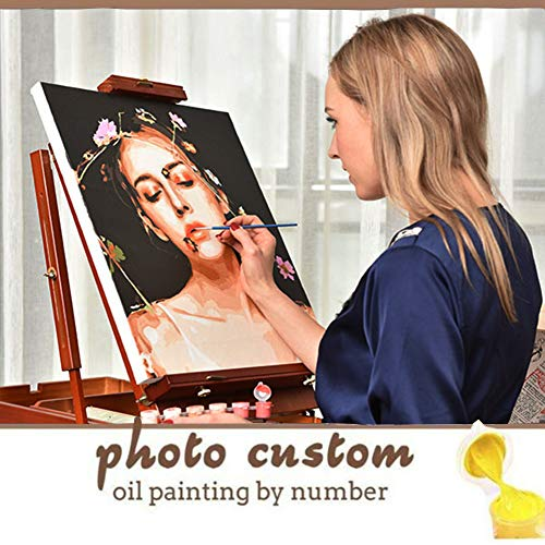 Personalized Oil Painting by Numbers Kit for Adults 16x16 Inch,Photo Custom Make Your Own DIY Digital Oil Painting Framed Stretched Canvas,Customized Painting Set for Beginners(with Frame,16'x16')