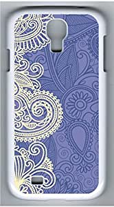 Samsung Galaxy S4 I9500 White Hard Case - Blue And White Pattern Galaxy S4 Cases