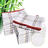 Luckiss Bamboo Dish Cloths Quick Dry Kitchen Rags for Washing Dishes and Dishcloths Sets Absorbent Soft Durable Eco-Friendly Cleaning Rags 12 x 12 inch 12 Pack, White