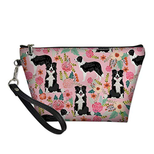 FANCOSAN Women's Cosmetic Case Border Collie Pink Trapezoid Makeup Bag PU Leather Toiletry Kit Clutch Handy Bags ()