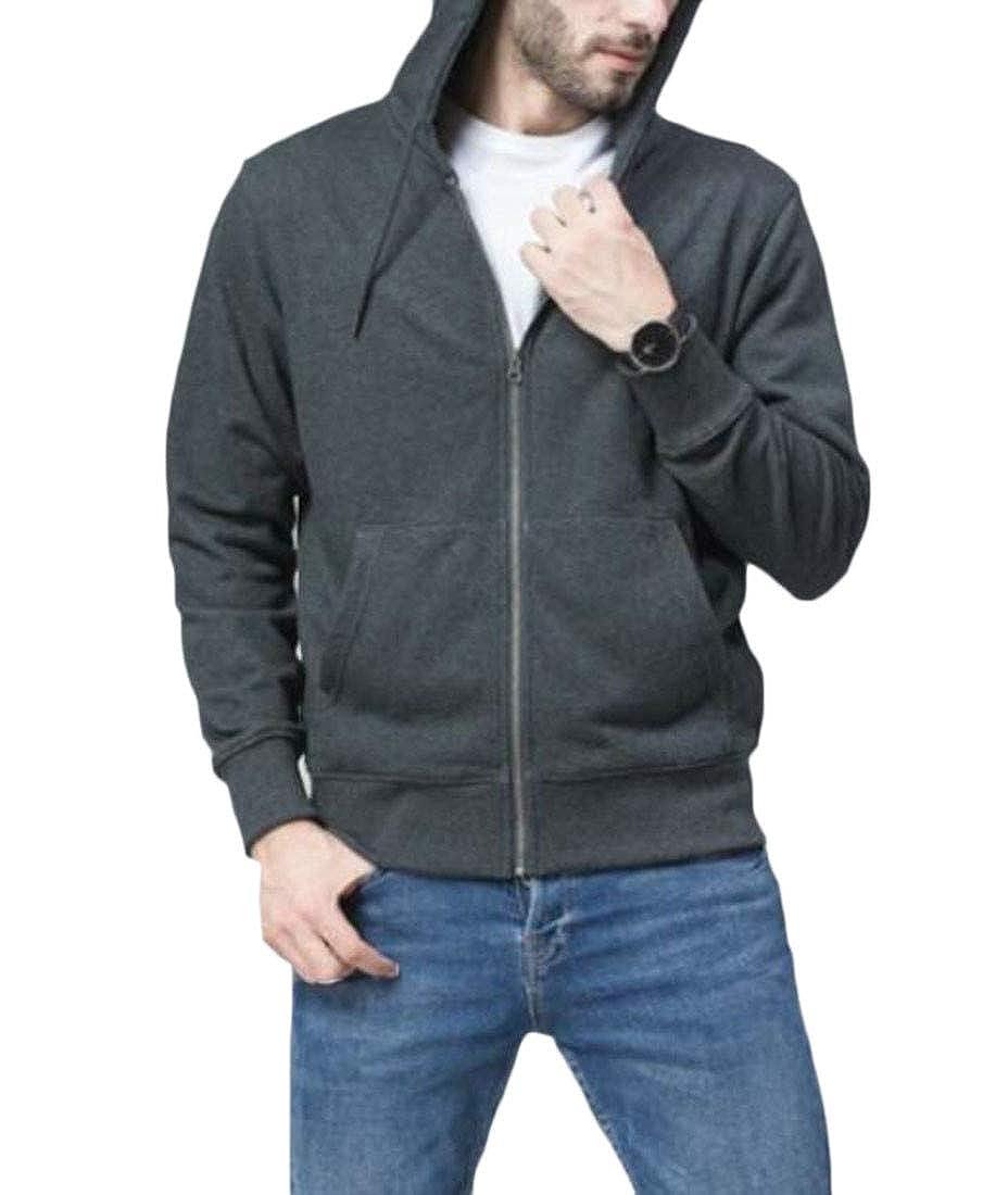 Wofupowga Men Hooded Fashion Solid Slim Jacket Coat Sweatshirts