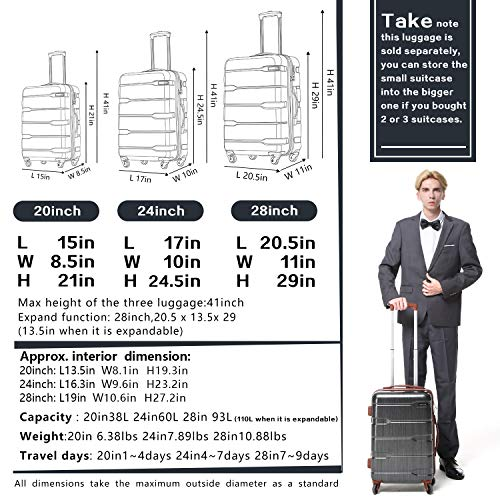 Coolife Suitcase and Carry On, Small