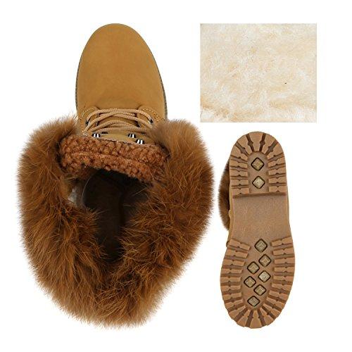 Stiefelparadies Warm Gefütterte Damen Stiefeletten Fell Outdoor Boots Winterschuhe Flandell Hellbraun Nieten Nieten