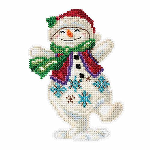 Snowman Dancing Beaded Counted Christmas Holiday Cross Stitch Kit Mill Hill 2016 Jim Shore Winter Series - Beaded Snowman