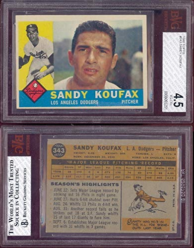 1960 Topps Regular (Baseball) card#343-psa+ Sandy Koufax (psa+) of the Los Angeles Dodgers Grade very good/excellent