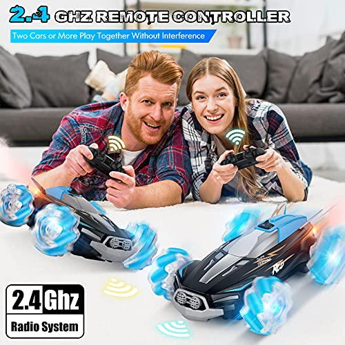 BAZOVE Remote Control Car, 2.4GHz 4WD High Speed Hobby RC Car with Spray Music Lights, Racing Car Toys for 3 4 5 6 7 8 Year Old Boys Girls Kids Birthday Gift (Blue)