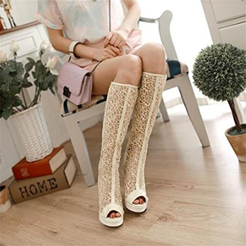 meters Lace mouth Womens Lace Flat Boots white The Fish High Fashion Over Ladies Heel Thigh MNII Shoes Knee Up Size shoes wxHqFIx