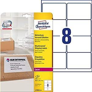 Avery Weatherproof Shipping Labels - Etiqueta autoadhesiva (Blanco, A4, 99,1 mm, 67,7 mm, 200 pieza(s), 8 hojas)