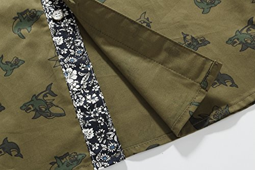SSLR Men's Shark Prints Casual Button Down Short Sleeve Shirts (Small, Olive Green)
