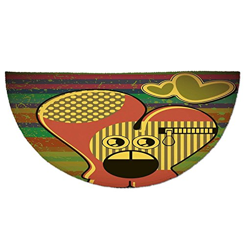 Half Round Door Mat Entrance Rug Floor Mats,Modern,Cute Monster on Grunge Striped Backdrop with Zipped Head Heart Graphic,Yellow Coral Olive Green,Garage Entry Carpet Decor for House Patio Grass Water ()