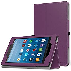 MoKo Case for All-New Amazon Fire HD 8 Tablet (7th Generation, 2017 Release Only) - Slim Folding Stand Cover for Fire HD 8, PURPLE (with Auto Wake / Sleep)