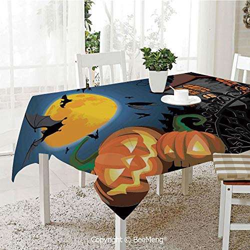 BeeMeng Dining Kitchen Polyester dust-Proof Table Cover,Halloween Decorations,Gothic Halloween Haunted House Party Theme Decor Trick or Treat for Kids,Multi,Rectangular,59 x 59 inches -