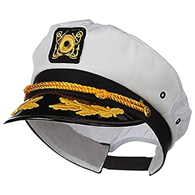 Sailor Ship Yacht Boat Captain Hat Navy Marines Admiral Cap Hat White Gold 23400 from Jacobson Hat Company