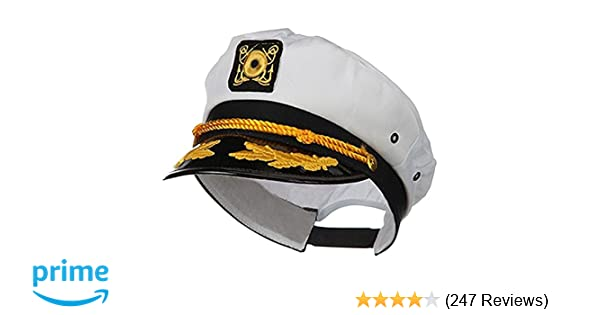 8a856e5c678 Amazon.com  Sailor Ship Yacht Boat Captain Hat Navy Marines Admiral Cap Hat  White Gold 23400  Clothing