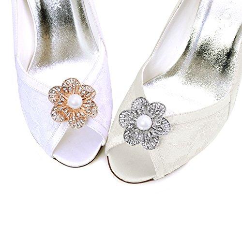 ElegantPark 2 Pcs Clips de Zapatos Perlas Rhinestones Floral Boda Fiesta Decoración AY Oro