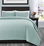 SuperBeddings Allyson 2pc Bed Quilted Coverlet Bedspread   Size:Twin/Twin XL   Color: Aqua Green   Crafting :Designer Pattern ( 1 Bedspread, 1 pillow shams included)