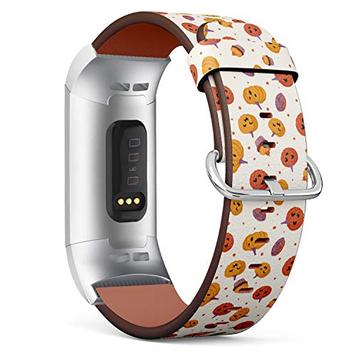 Patterned Pumpkin - Halloween Pumpkin - Patterned Leather Wristband Strap Compatible with Fitbit Charge 3
