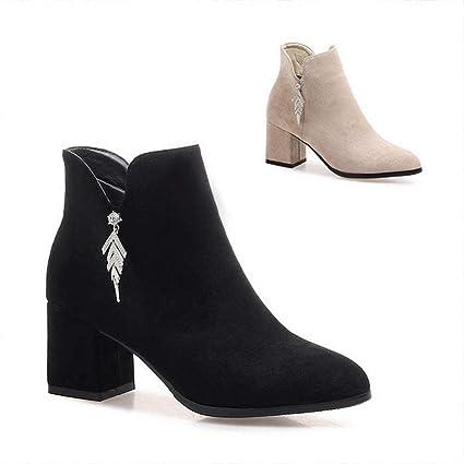 Amazon.com DEED High Heels 6Cm Female Thick Heel Boots