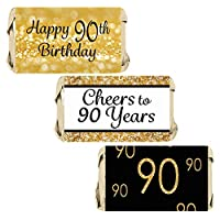 DISTINCTIVS Black and Gold 90th Birthday Party Mini Candy Bar Wrappers - 45 Stickers