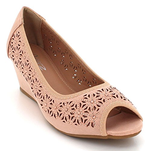 AARZ LONDON Women Ladies Diamante Peeptoe Evening Party Prom Wedding Bridal Slip-On Wedge Heel Courts Sandals Shoes Size Pink YpvhivV9XE