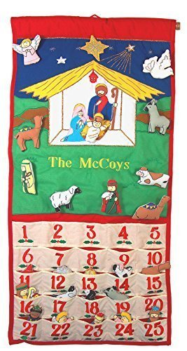 (Pockets of Learning Personalized Traditional Nativity Advent Calendar, Holiday Décor, Crèche Manger Scene, Christmas Fabric Wall Hanging, Seasonal Cloth Countdown )