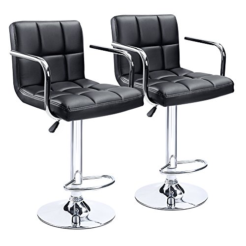Homall Modern PU Leather Swivel Adjustable Barstools,Synthetic Leather Hydraulic Counter Stools Square Height Bar Stool with Arms Set of 2(Black) ()