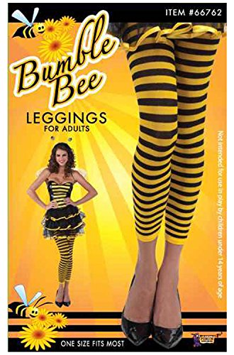 Forum Novelties Women's Novelty Bumble Bee Leggings, Yellow/Black, One (Costumes With Black Leggings)