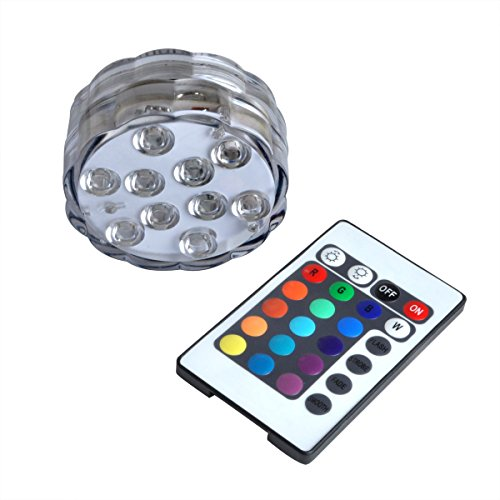 Submersible LED Lights by Wuudi - AAA Batteries Powered LED Accent Lights 1pc w/ IR Remotes for Home and Yard