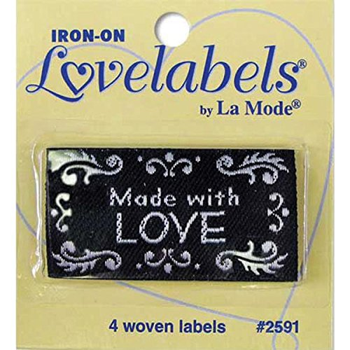 Blumenthal Lansing Iron-On Lovelabels Chipboard, Made with Love, Black 2500-2591