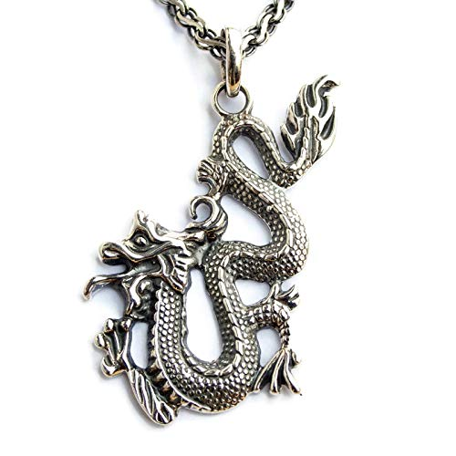 Fire Dragon Pendnat Necklace Sterling Silver Good Luck Amulet Handmade Asian Chinese Japonese Oriental Jewelry Yoga Buddist Gift Asian Sterling Silver Necklace