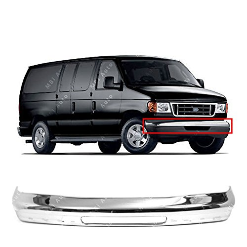 - MBI AUTO - Chrome, Steel Front Bumper Face Bar Shell for 1992-2007 Ford Econoline Van E150 E250 E350 92-07, FO1002348