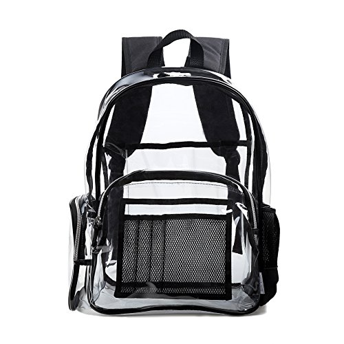 - Large Clear Backpack, Heavy Duty Transparent Bookbag for School, Security, Sporting Events and more (Black)