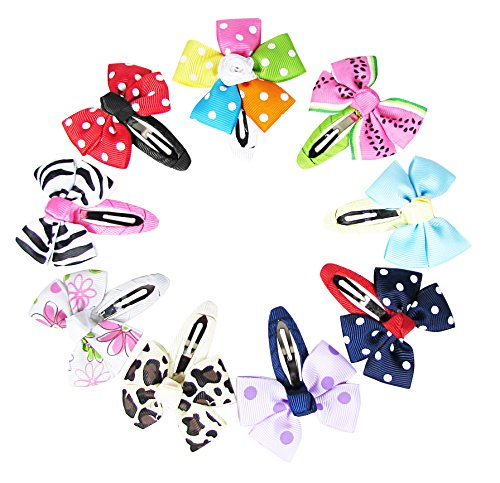 Price comparison product image Hipgirl 9 Piece 2.25 Inch Snap Hair Clips Pinwheel Bow-Grosgrain Ribbon No Slip Grip Metal Barrettes for Girls Teens Toddlers Babies Children Kids Women Adults Beauty Accessories Assorted Color