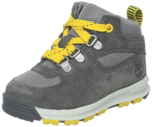 Timberland Earthkeepers GT Scramble Mid Leather and Fabric Boot (Toddler/Little Kid/Big Kid),Grey/Yellow,3 M US Little Kid by Timberland