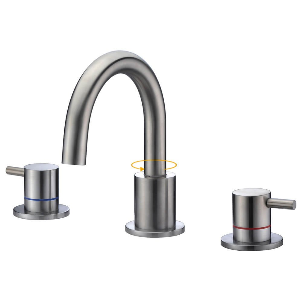 SURNORME Bathtub Faucets 2 Handle Widespread Bathtub Faucets Vanity Basin Hot and Cold Water Mixer Tap (Brushed Nickel)