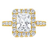 4ct Emerald Round Brilliant Cut Halo Solitaire Accent Simulated Diamond Statement Classic Designer Ring Solid 14k Yellow Gold For Women, 6.25