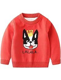 Fruitsunchen Baby Boys Girls Knit Sweater Unisex Cotton Cartoon Animal 2 Layer Warm Pullover Sweatshirt