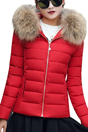 Quilted Fur Hood Winter Puffer Jacket Winter Detachable red With Warm Jacket YMING Women C nwUq4aXn