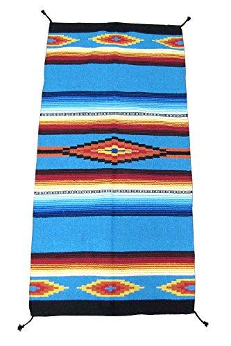 Hand Woven Serape Rug with Classic Mexican Saltillo Diamond Design 32