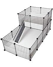 CagesCubes - C&C Deluxe klatka (podstawa 2 x 4 + loft 2 x 2 - czarny panel) + biała podstawa z koroplastu do świnek morskich