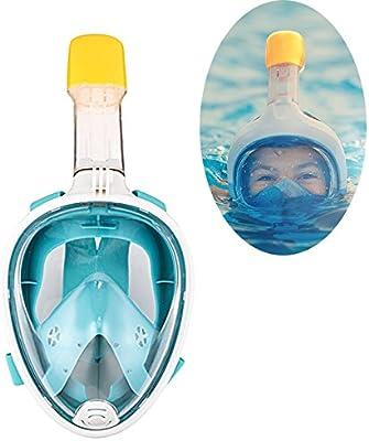 Máscara de snorkel vista completa 180 grado Full Face snorkel mascarillas de buceo Mascara para adultos y niños buceo de seguridad (L(Inner19*13,diámetro ...