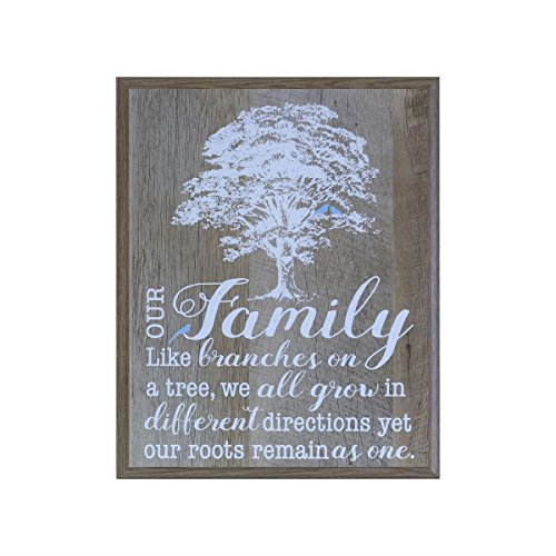 Our Family Like Branches on a Tree Gift for grandparent Parents, best friends, and Christian gift ideas 12 Inches Wide X 15 Inches High Wall Plaque By Dayspring Milestones (Barnwood)