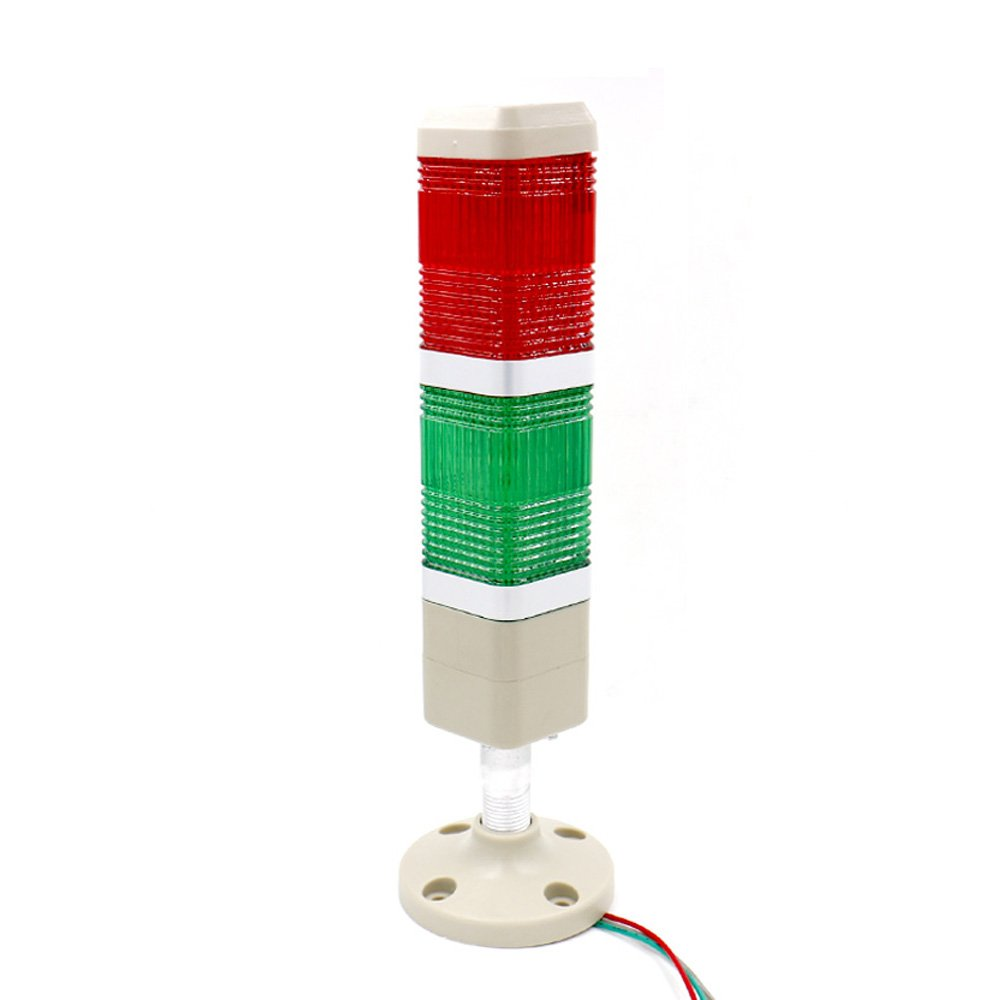 Baomain Industrial Signal Light Column LED Alarm Square Tower Light Indicator Continuous Light Warning light Red Green AC 110V