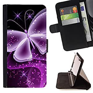 DEVIL CASE - FOR Sony Xperia Z1 Compact D5503 - Neon Butterfly Computer Graphics Art - Style PU Leather Case Wallet Flip Stand Flap Closure Cover
