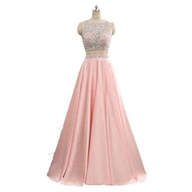 SZQINLI Womens Bead Crystal Satin Evening Gown Formal 2 Pieces Prom Dresses Long 20
